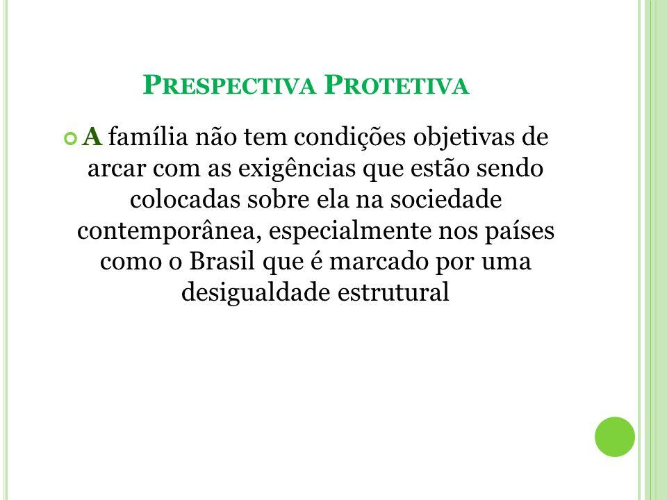 P RESPECTIVA P ROTETIVA A família não tem condições objetivas de arcar com as exigências que estão sendo colocadas sobre ela na sociedade contemporâne