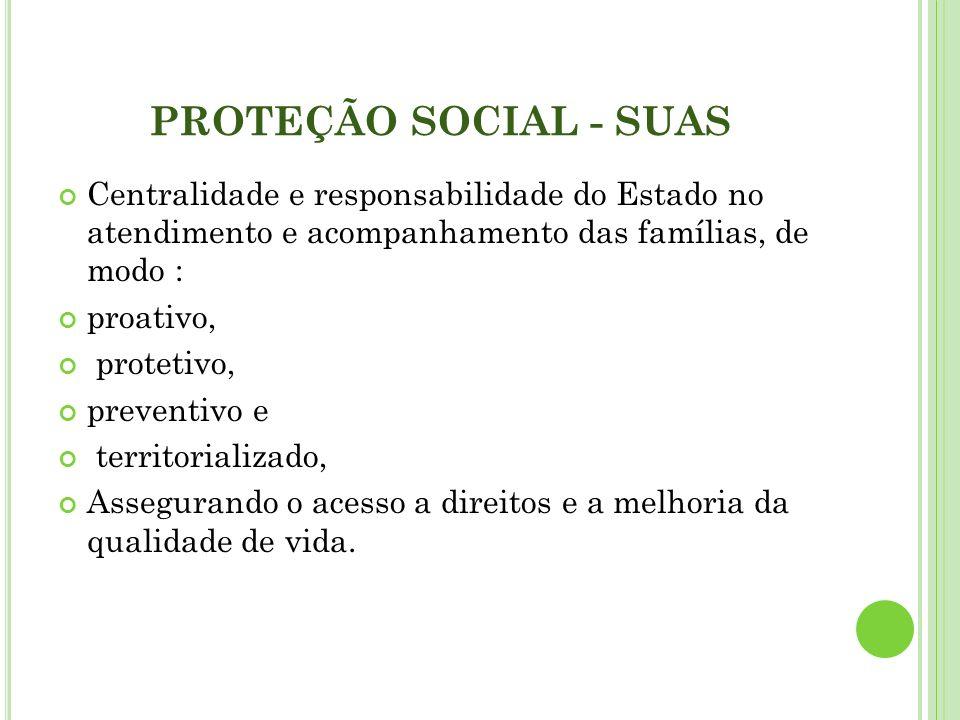 PROTEÇÃO SOCIAL - SUAS Centralidade e responsabilidade do Estado no atendimento e acompanhamento das famílias, de modo : proativo, protetivo, preventi