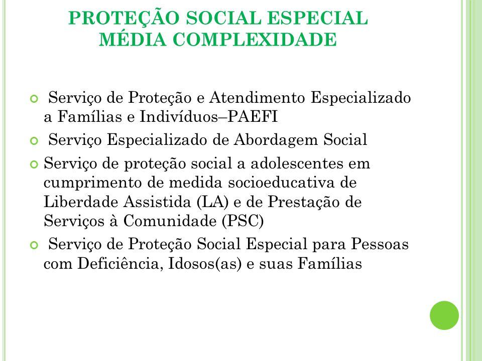 PROTEÇÃO SOCIAL ESPECIAL MÉDIA COMPLEXIDADE Serviço de Proteção e Atendimento Especializado a Famílias e Indivíduos–PAEFI Serviço Especializado de Abo