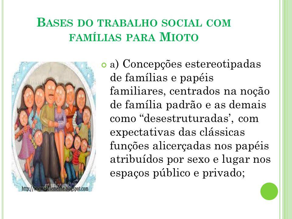 B ASES DO TRABALHO SOCIAL COM FAMÍLIAS PARA M IOTO a ) Concepções estereotipadas de famílias e papéis familiares, centrados na noção de família padrão