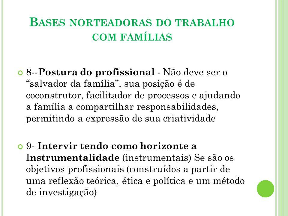 B ASES NORTEADORAS DO TRABALHO COM FAMÍLIAS 8-- Postura do profissional - Não deve ser o salvador da família, sua posição é de coconstrutor, facilitad