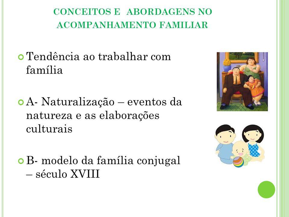 CONCEITOS E ABORDAGENS NO ACOMPANHAMENTO FAMILIAR Tendência ao trabalhar com família A- Naturalização – eventos da natureza e as elaborações culturais