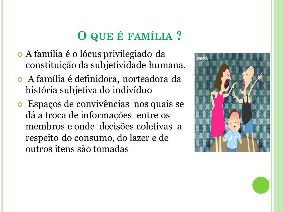 O QUE É FAMÍLIA ? A família é o lócus privilegiado da constituição da subjetividade humana. A família é definidora, norteadora da história subjetiva d
