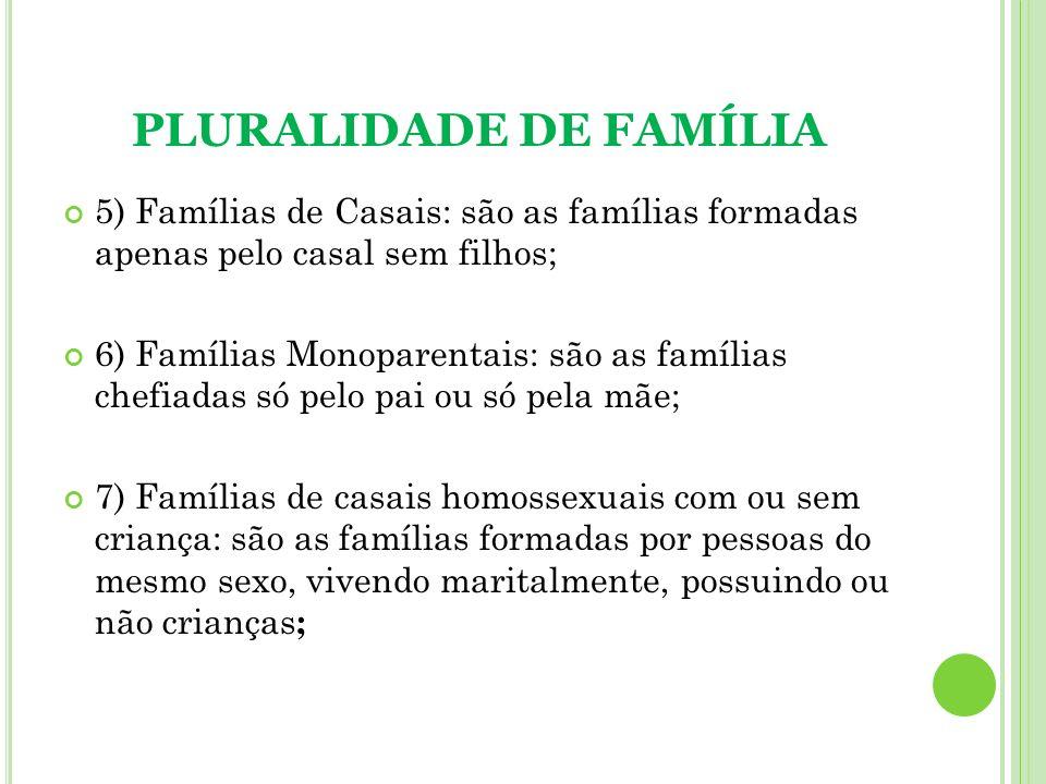 PLURALIDADE DE FAMÍLIA 5) Famílias de Casais: são as famílias formadas apenas pelo casal sem filhos; 6) Famílias Monoparentais: são as famílias chefia