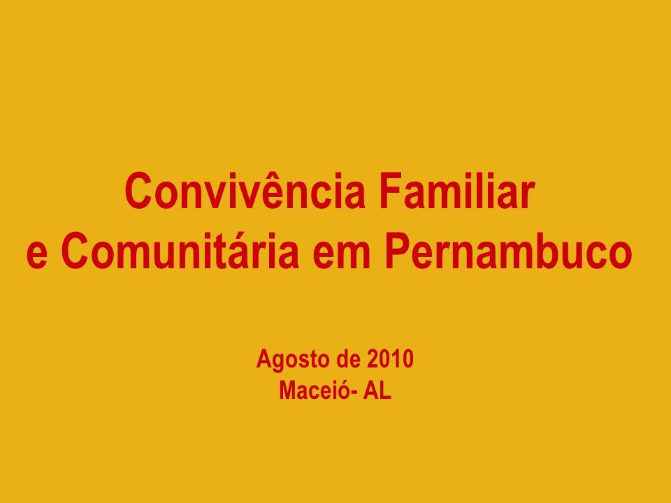 Convivência Familiar e Comunitária em Pernambuco Agosto de 2010 Maceió- AL