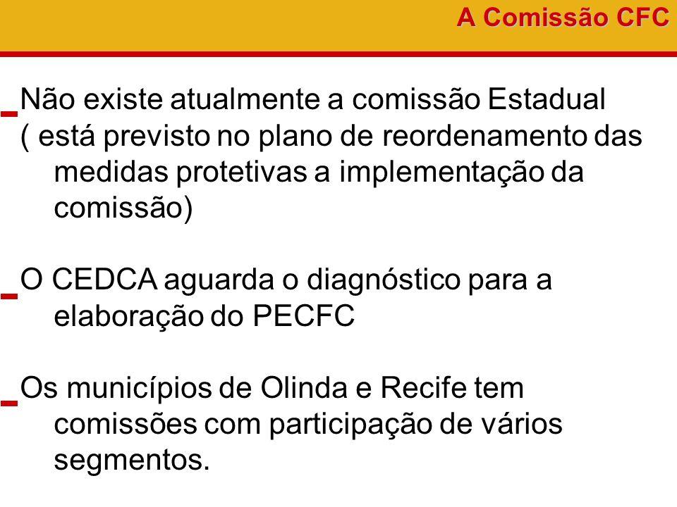 A Comissão CFC Não existe atualmente a comissão Estadual ( está previsto no plano de reordenamento das medidas protetivas a implementação da comissão)