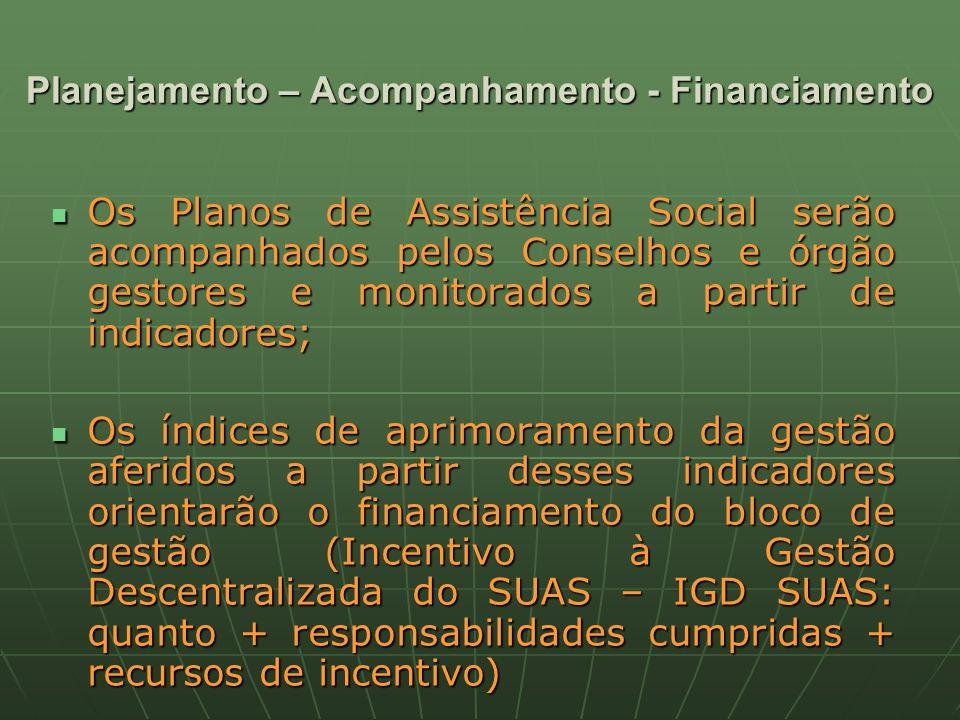 Planejamento – Acompanhamento - Financiamento Os Planos de Assistência Social serão acompanhados pelos Conselhos e órgão gestores e monitorados a partir de indicadores; Os Planos de Assistência Social serão acompanhados pelos Conselhos e órgão gestores e monitorados a partir de indicadores; Os índices de aprimoramento da gestão aferidos a partir desses indicadores orientarão o financiamento do bloco de gestão (Incentivo à Gestão Descentralizada do SUAS – IGD SUAS: quanto + responsabilidades cumpridas + recursos de incentivo) Os índices de aprimoramento da gestão aferidos a partir desses indicadores orientarão o financiamento do bloco de gestão (Incentivo à Gestão Descentralizada do SUAS – IGD SUAS: quanto + responsabilidades cumpridas + recursos de incentivo)