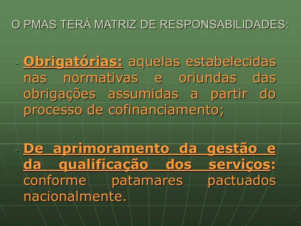 O PMAS TERÁ MATRIZ DE RESPONSABILIDADES: - Obrigatórias: aquelas estabelecidas nas normativas e oriundas das obrigações assumidas a partir do processo de cofinanciamento; - De aprimoramento da gestão e da qualificação dos serviços: conforme patamares pactuados nacionalmente.