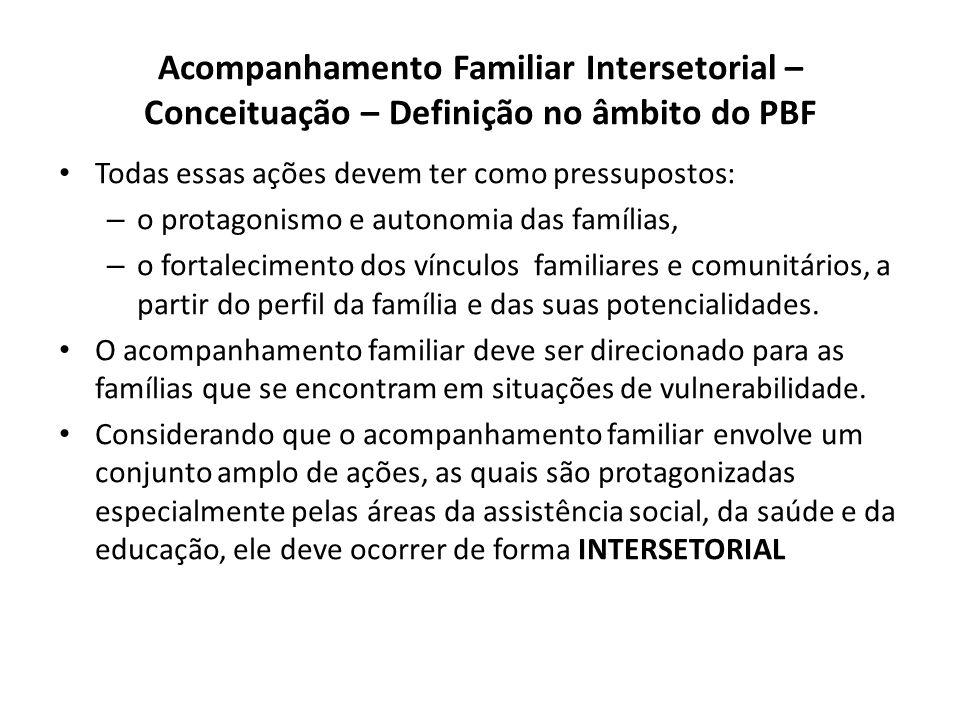 Acompanhamento Familiar Intersetorial – Conceituação – Definição no âmbito do PBF Todas essas ações devem ter como pressupostos: – o protagonismo e autonomia das famílias, – o fortalecimento dos vínculos familiares e comunitários, a partir do perfil da família e das suas potencialidades.