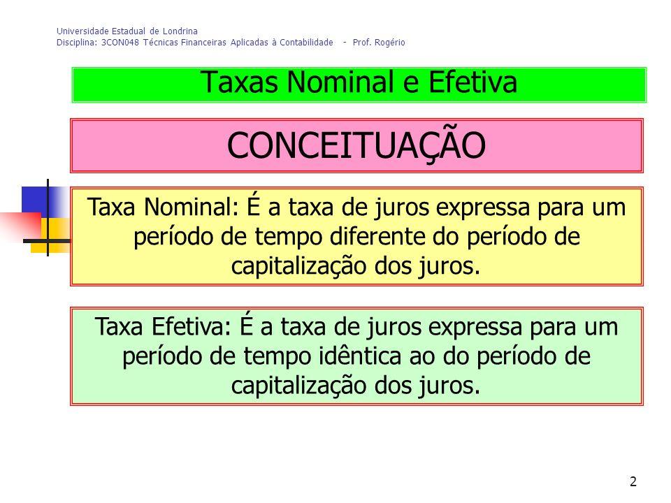 2 Universidade Estadual de Londrina Disciplina: 3CON048 Técnicas Financeiras Aplicadas à Contabilidade - Prof. Rogério CONCEITUAÇÃO Taxas Nominal e Ef