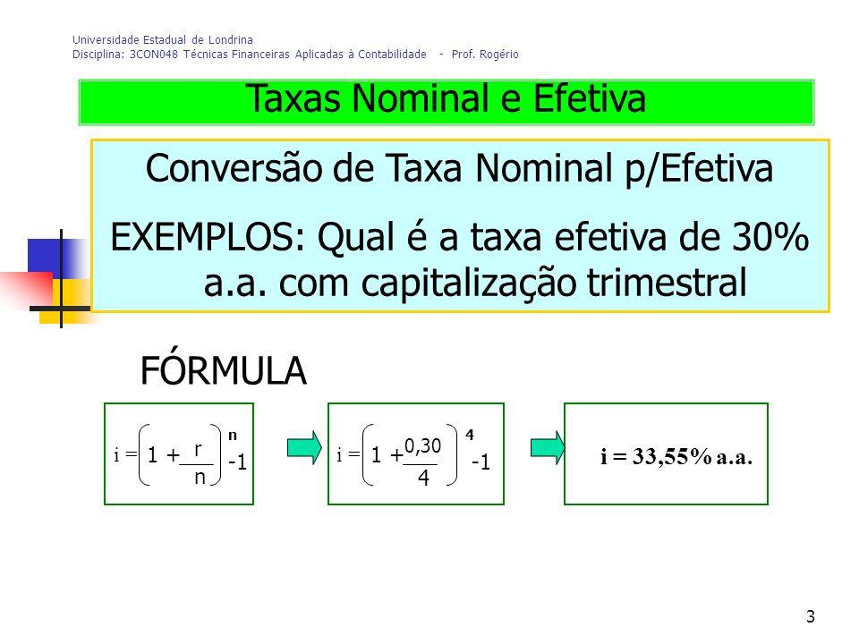 3 Universidade Estadual de Londrina Disciplina: 3CON048 Técnicas Financeiras Aplicadas à Contabilidade - Prof. Rogério Conversão de Taxa Nominal p/Efe