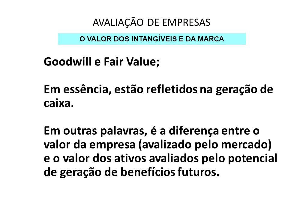 AVALIAÇÃO DE EMPRESAS O VALOR DOS INTANGÍVEIS E DA MARCA Goodwill e Fair Value; Em essência, estão refletidos na geração de caixa. Em outras palavras,