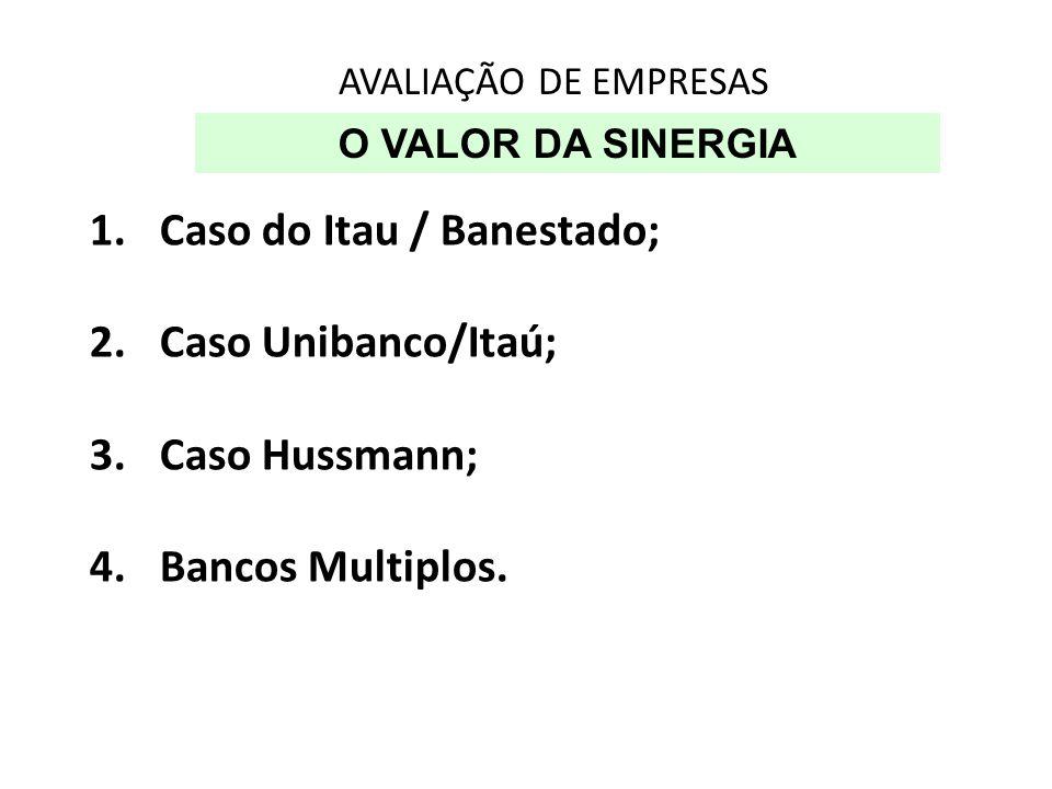 AVALIAÇÃO DE EMPRESAS O VALOR DA SINERGIA 1.Caso do Itau / Banestado; 2.Caso Unibanco/Itaú; 3.Caso Hussmann; 4.Bancos Multiplos.