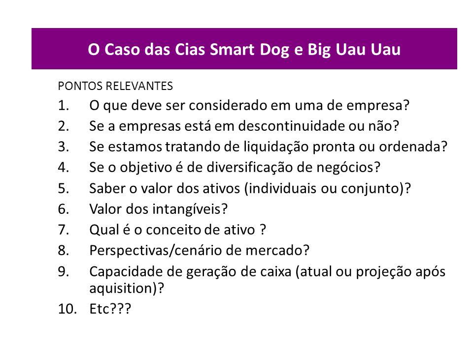 O Caso das Cias Smart Dog e Big Uau Uau PONTOS RELEVANTES 1.O que deve ser considerado em uma de empresa? 2.Se a empresas está em descontinuidade ou n