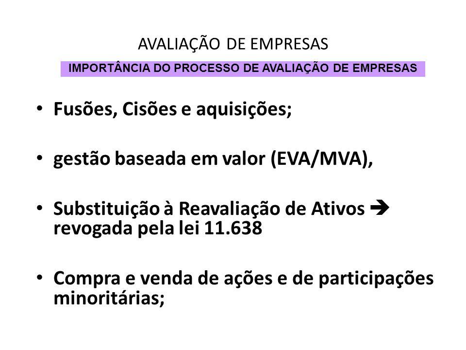 AVALIAÇÃO DE EMPRESAS Fusões, Cisões e aquisições; gestão baseada em valor (EVA/MVA), Substituição à Reavaliação de Ativos revogada pela lei 11.638 Co