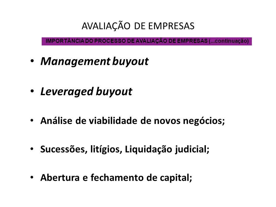 AVALIAÇÃO DE EMPRESAS Management buyout Leveraged buyout Análise de viabilidade de novos negócios; Sucessões, litígios, Liquidação judicial; Abertura