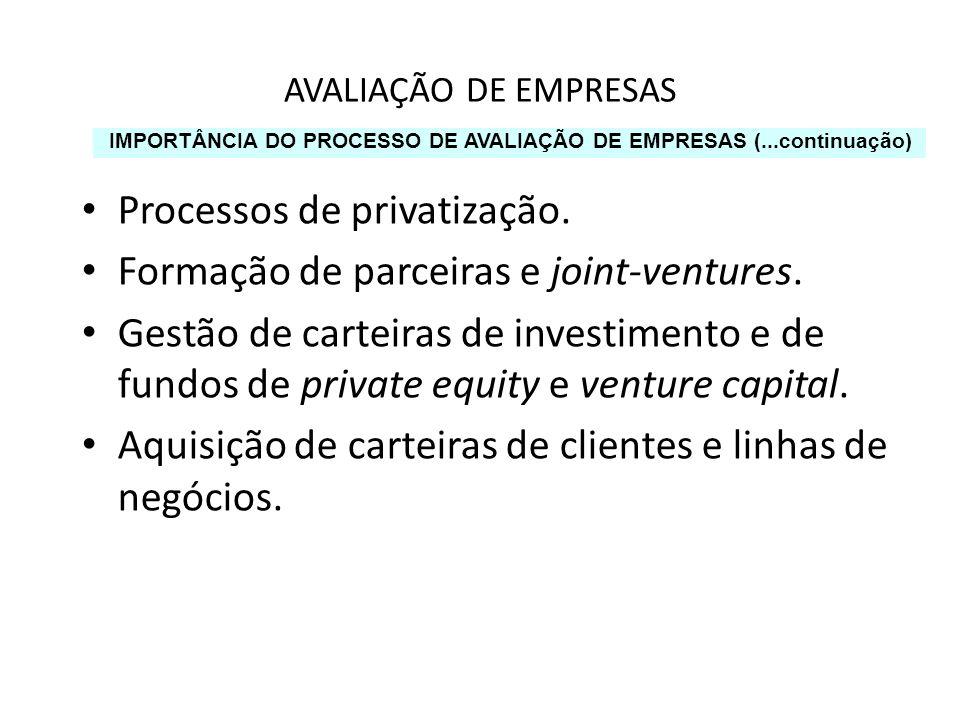 AVALIAÇÃO DE EMPRESAS Processos de privatização. Formação de parceiras e joint-ventures. Gestão de carteiras de investimento e de fundos de private eq