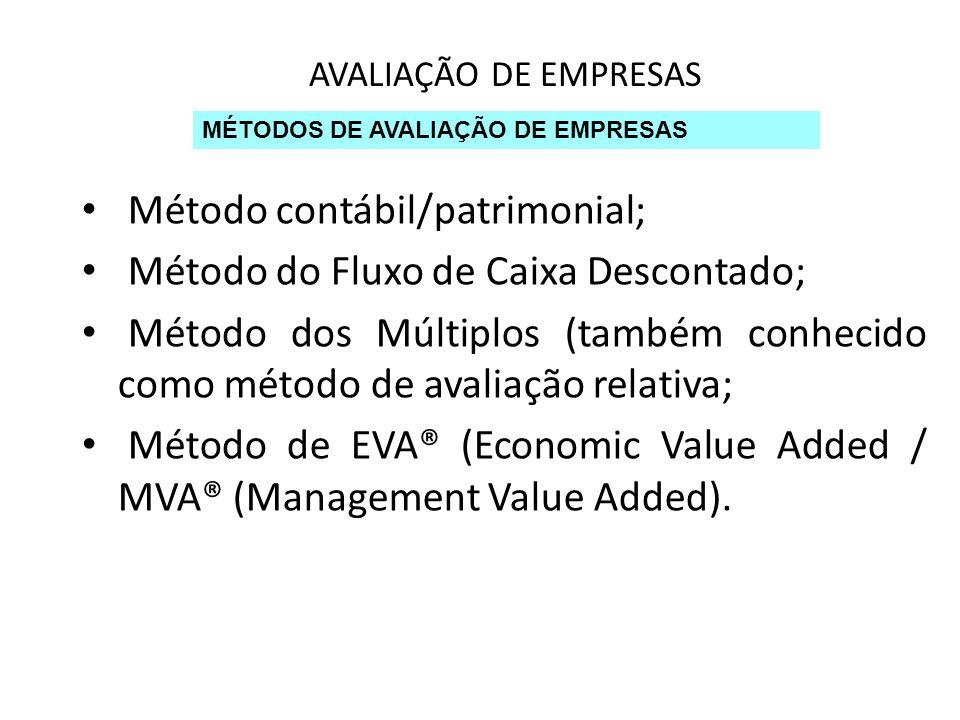 AVALIAÇÃO DE EMPRESAS MÉTODOS DE AVALIAÇÃO DE EMPRESAS Método contábil/patrimonial; Método do Fluxo de Caixa Descontado; Método dos Múltiplos (também