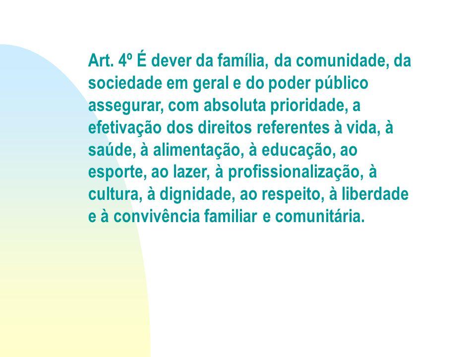 Art. 4º É dever da família, da comunidade, da sociedade em geral e do poder público assegurar, com absoluta prioridade, a efetivação dos direitos refe
