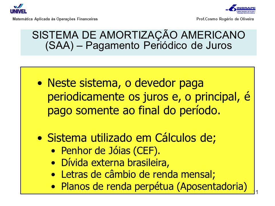 11 Matemática Aplicada às Operações Financeiras Prof.Cosmo Rogério de Oliveira SISTEMA DE AMORTIZAÇÃO AMERICANO (SAA) – Pagamento Periódico de Juros N