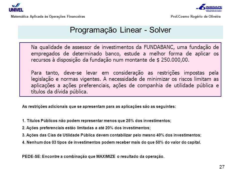 27 Matemática Aplicada às Operações Financeiras Prof.Cosmo Rogério de Oliveira Programação Linear - Solver Na qualidade de assessor de investimentos d