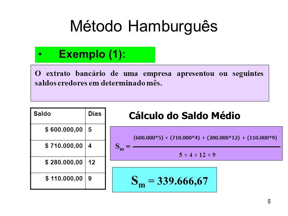 5 Método Hamburguês Exemplo (1): O extrato bancário de uma empresa apresentou ou seguintes saldos credores em determinado mês. SaldoDias $ 600.000,005