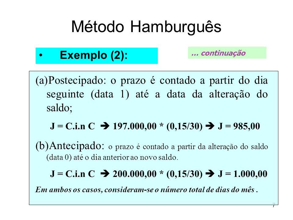 7 Método Hamburguês Exemplo (2): (a)Postecipado: o prazo é contado a partir do dia seguinte (data 1) até a data da alteração do saldo; J = C.i.n C 197