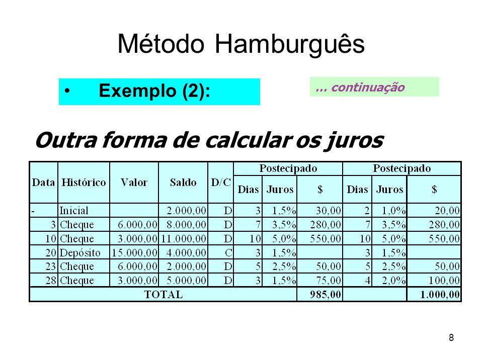 8 Método Hamburguês Exemplo (2): … continuação Outra forma de calcular os juros
