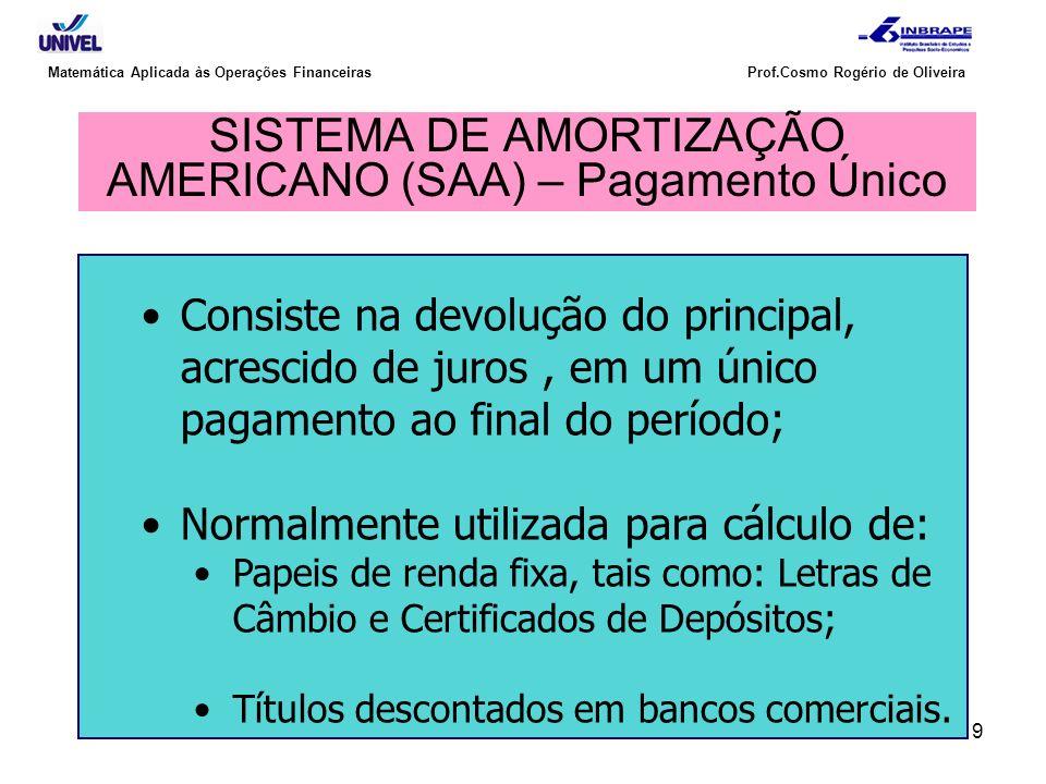 9 Matemática Aplicada às Operações Financeiras Prof.Cosmo Rogério de Oliveira SISTEMA DE AMORTIZAÇÃO AMERICANO (SAA) – Pagamento Único Consiste na dev