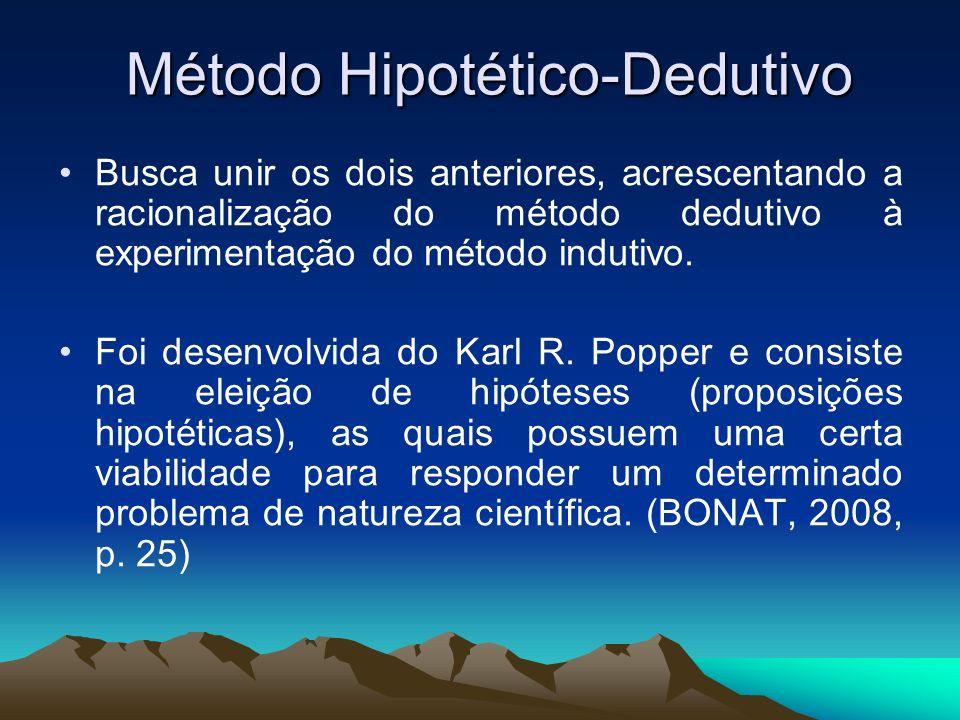Método Hipotético-Dedutivo Busca unir os dois anteriores, acrescentando a racionalização do método dedutivo à experimentação do método indutivo. Foi d