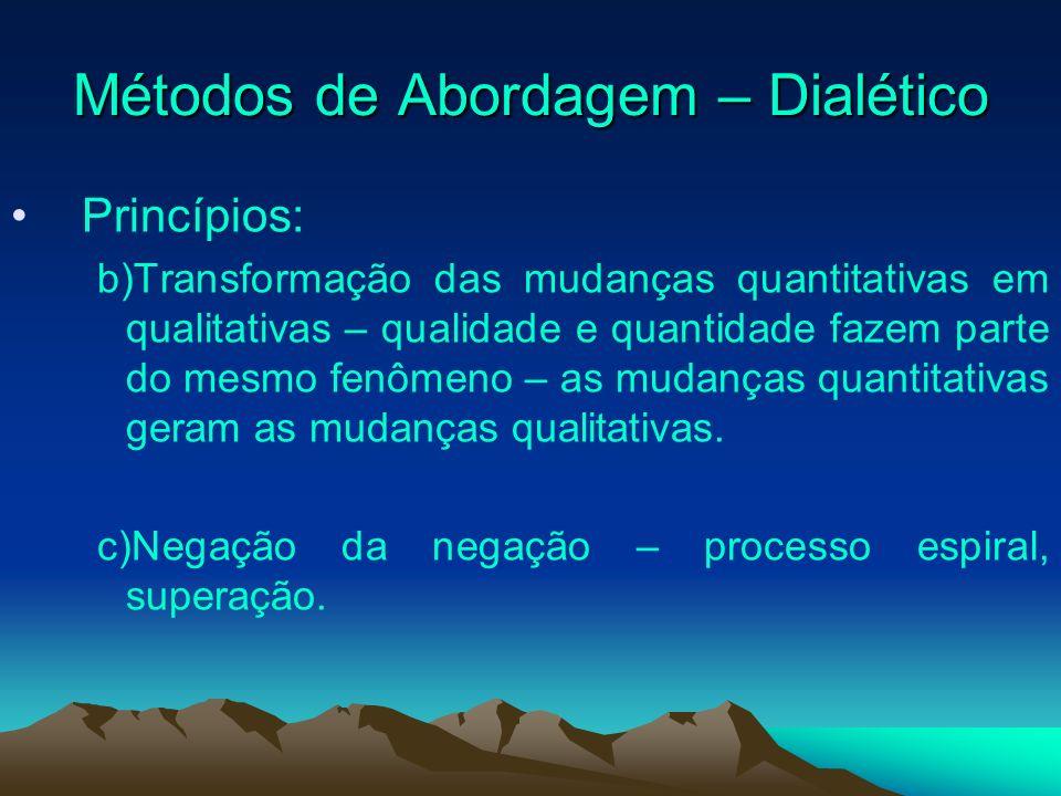 Métodos de Abordagem – Dialético Princípios: b)Transformação das mudanças quantitativas em qualitativas – qualidade e quantidade fazem parte do mesmo