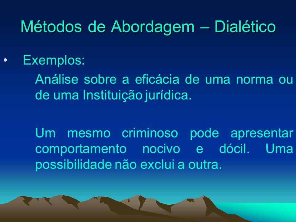 Métodos de Abordagem – Dialético Exemplos: Análise sobre a eficácia de uma norma ou de uma Instituição jurídica. Um mesmo criminoso pode apresentar co