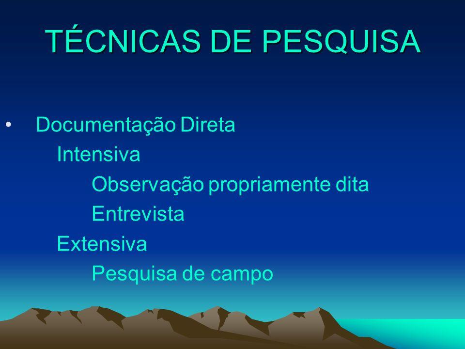 TÉCNICAS DE PESQUISA Documentação Direta Intensiva Observação propriamente dita Entrevista Extensiva Pesquisa de campo
