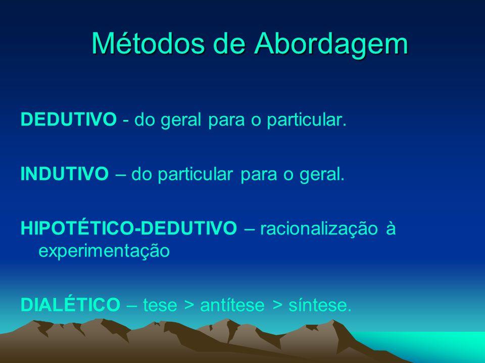 Métodos de Abordagem Métodos de Abordagem DEDUTIVO - do geral para o particular. INDUTIVO – do particular para o geral. HIPOTÉTICO-DEDUTIVO – racional