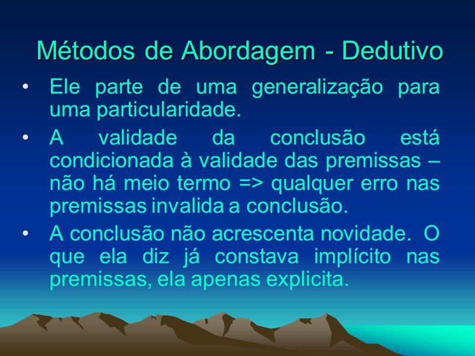 Métodos de Abordagem - Dedutivo Métodos de Abordagem - Dedutivo Ele parte de uma generalização para uma particularidade. A validade da conclusão está