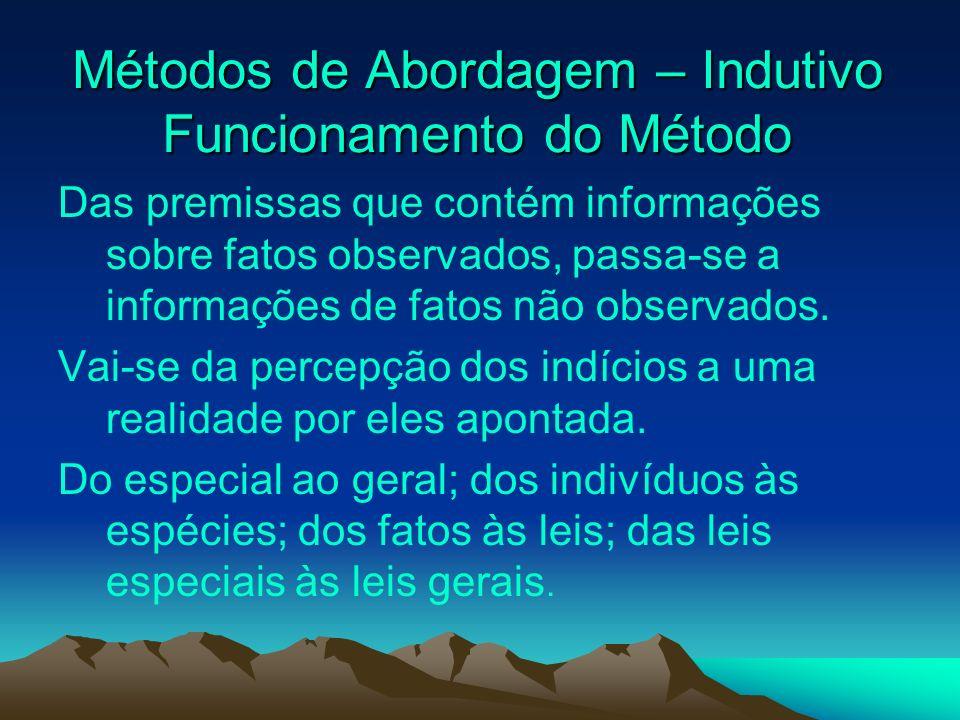 Métodos de Abordagem – Indutivo Funcionamento do Método Métodos de Abordagem – Indutivo Funcionamento do Método Das premissas que contém informações s