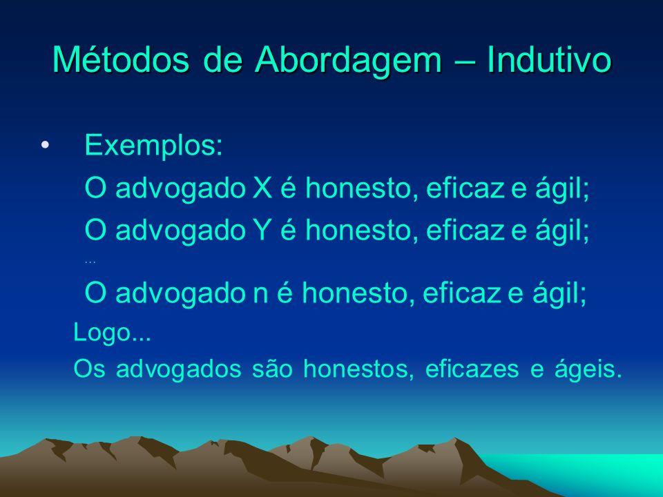 Métodos de Abordagem – Indutivo Exemplos: O advogado X é honesto, eficaz e ágil; O advogado Y é honesto, eficaz e ágil;... O advogado n é honesto, efi