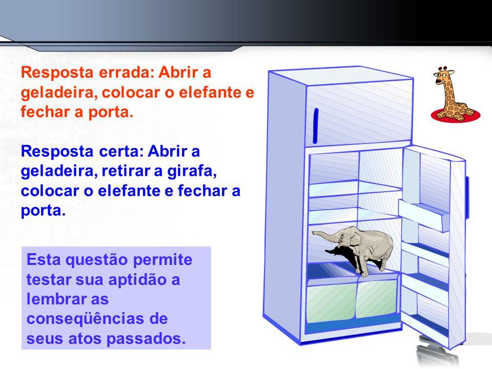 Resposta errada: Abrir a geladeira, colocar o elefante e fechar a porta. Resposta certa: Abrir a geladeira, retirar a girafa, colocar o elefante e fec