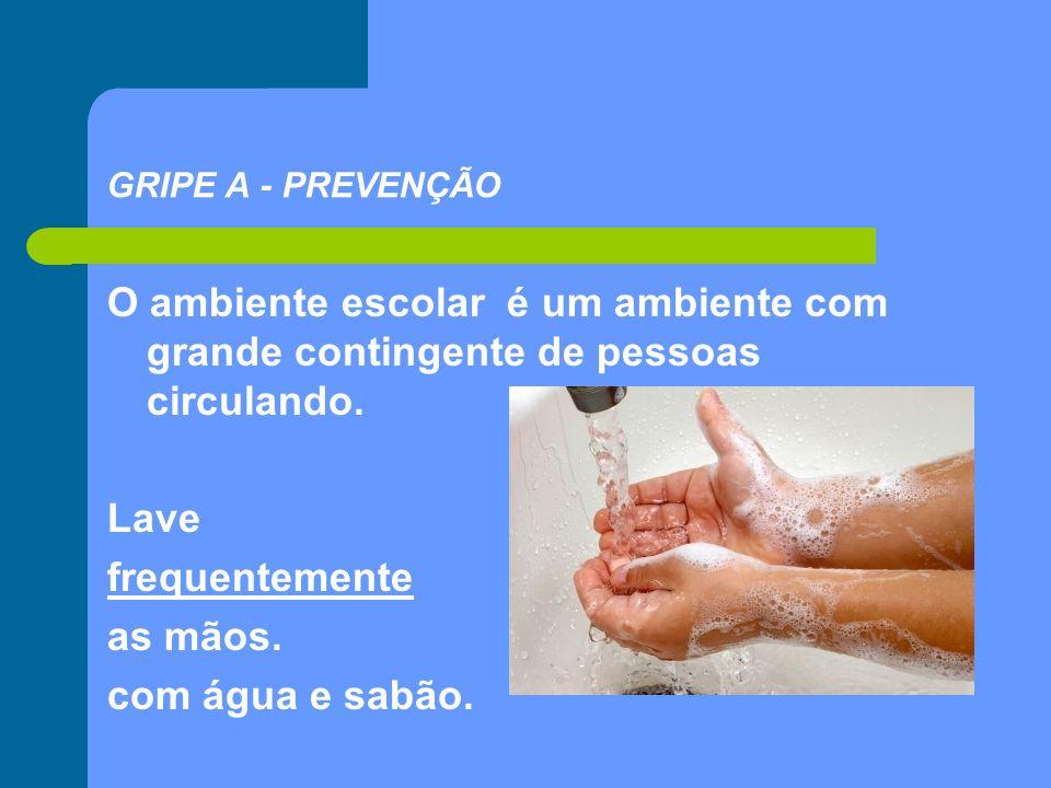 GRIPE A - PREVENÇÃO O ambiente escolar é um ambiente com grande contingente de pessoas circulando. Lave frequentemente as mãos. com água e sabão.