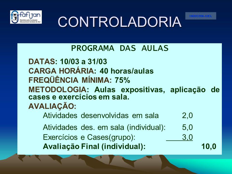 CONTROLADORIA PROGRAMA DAS AULAS DATAS: 10/03 a 31/03 CARGA HORÁRIA: 40 horas/aulas FREQÜÊNCIA MÍNIMA: 75% METODOLOGIA: Aulas expositivas, aplicação d