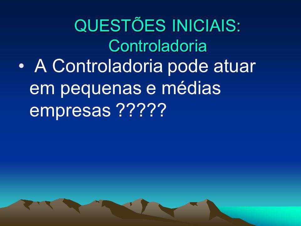 A Controladoria pode atuar em pequenas e médias empresas ????? QUESTÕES INICIAIS: Controladoria