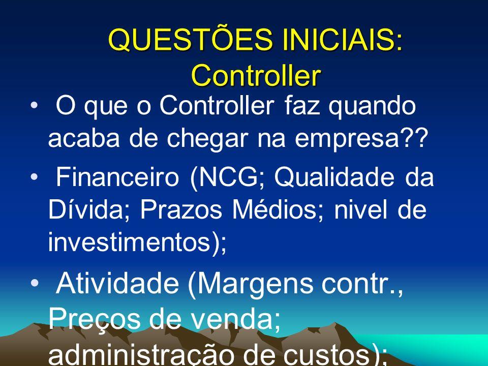 O que o Controller faz quando acaba de chegar na empresa?? Financeiro (NCG; Qualidade da Dívida; Prazos Médios; nivel de investimentos); Atividade (Ma