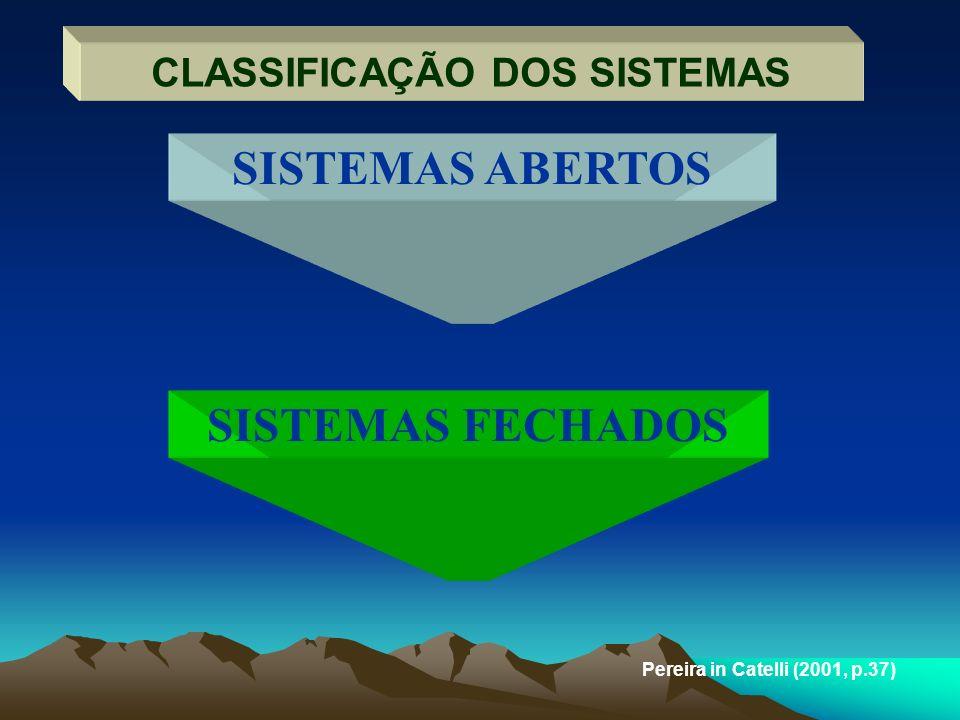 CLASSIFICAÇÃO DOS SISTEMAS Pereira in Catelli (2001, p.37) SISTEMAS ABERTOS SISTEMAS FECHADOS