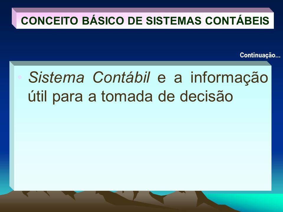Sistema Contábil e a informação útil para a tomada de decisão CONCEITO BÁSICO DE SISTEMAS CONTÁBEIS Continuação...