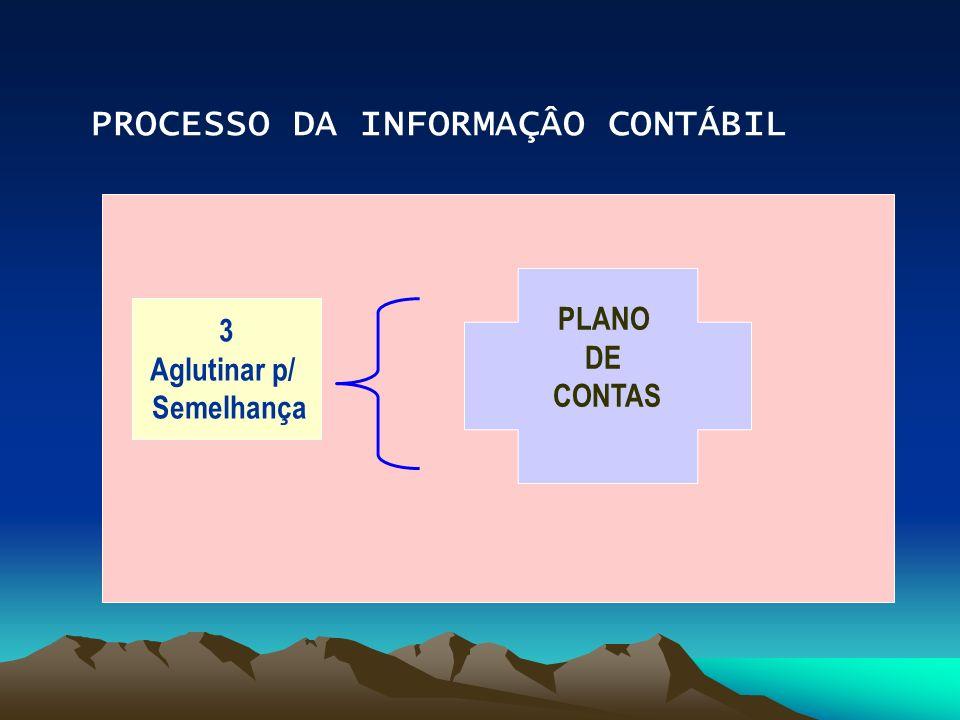 PROCESSO DA INFORMAÇÂO CONTÁBIL 3 Aglutinar p/ Semelhança PLANO DE CONTAS