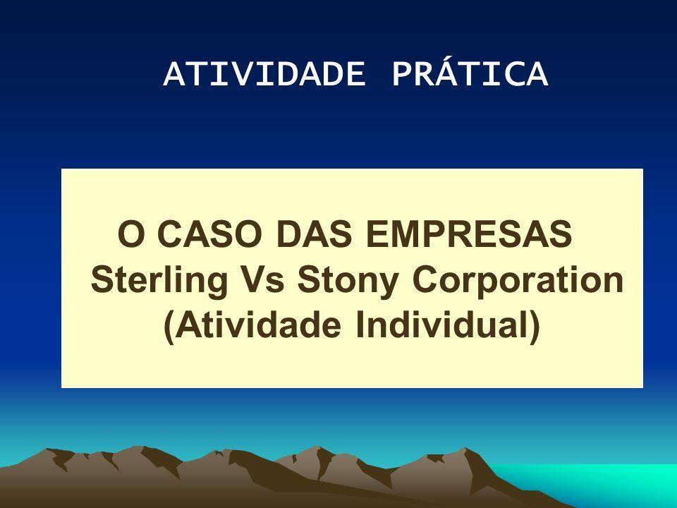 ATIVIDADE PRÁTICA O CASO DAS EMPRESAS Sterling Vs Stony Corporation (Atividade Individual)