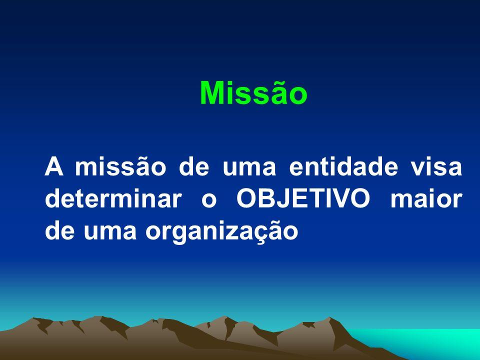 Missão A missão de uma entidade visa determinar o OBJETIVO maior de uma organização
