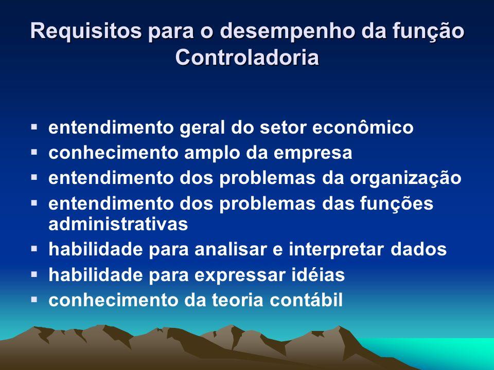 Requisitos para o desempenho da função Controladoria entendimento geral do setor econômico conhecimento amplo da empresa entendimento dos problemas da