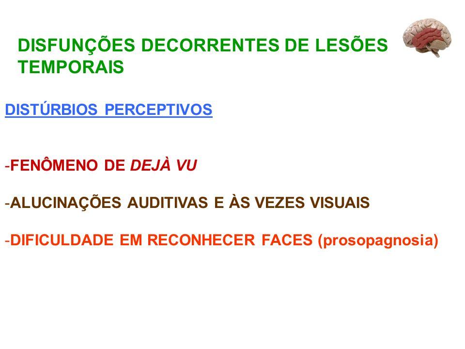 DISFUNÇÕES DECORRENTES DE LESÕES TEMPORAIS DISTÚRBIOS PERCEPTIVOS -FENÔMENO DE DEJÀ VU -ALUCINAÇÕES AUDITIVAS E ÀS VEZES VISUAIS -DIFICULDADE EM RECONHECER FACES (prosopagnosia)