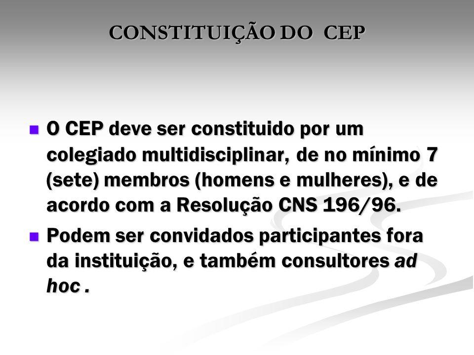 CONSTITUIÇÃO DO CEP O CEP deve ser constituido por um colegiado multidisciplinar, de no mínimo 7 (sete) membros (homens e mulheres), e de acordo com a